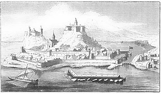 Old Fortress, Corfu - Old Fortress in the 16th century from a print at the British Museum. The protective wall of the marina is visible in front of the castle. The marina is still in use to this day.