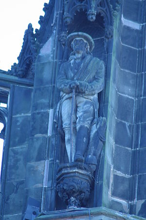 Old Mortality - Old Mortality on the Scott Monument, Edinburgh, sculpted by Andrew Currie