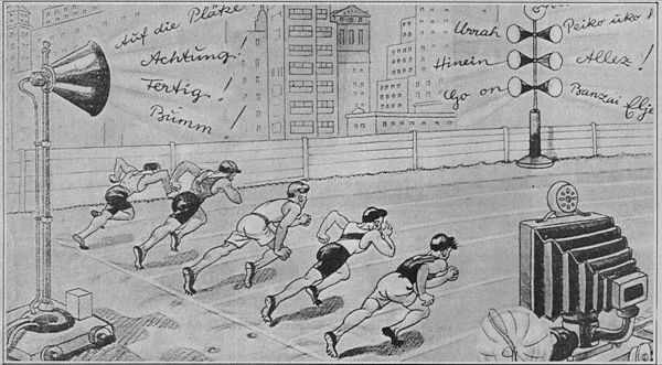 A cartoon from the 1936 Olympics imagines the year 2000 when spectators will have been replaced by television and radio, their cheers coming from loudspeakers. Olympic Final 2000 (1936 cartoon).jpg