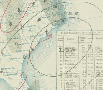 1911 Atlantic hurricane season - Image: One 1911 08 06 weather map
