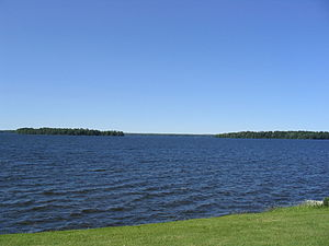 Oneida Lake - View of Frenchman Island and Durham Island from Cicero, a suburban Syracuse town