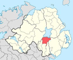 Location of Oneilland, County Armagh, in present-day Northern Ireland. It was based on the Irish district of Uí Nialláin.
