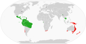 Global range of Onychophora: Peripatidae in green, Peripatopsidae in red