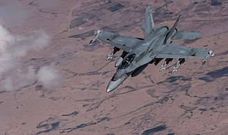 McDonnell Douglas CF-18 Hornet - A CF-188 Hornet after refueling over Iraq on 4 March 2015.
