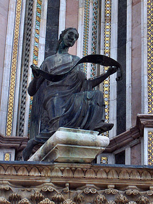 Lorenzo Maitani - Matthew the Evangelist    bronze statue on the left pier of the façade of the Orvieto Cathedral, Italy