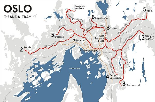 План города с линиями метро