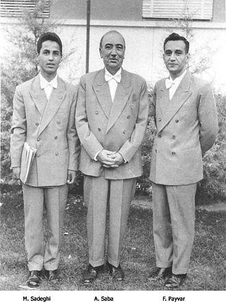Abolhasan Saba - Manoochehr Sadeghi (left), Ostad Saba (middle), Faramarz Payvar (right)