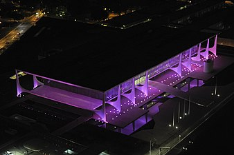 The National Congress of Brazil lit up in pink for Breast Cancer Awareness Month on October 1, 2014.