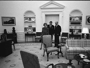 Gerald R. Ford Presidential Museum - President Ford with President and Mrs. Reagan in the replica of the Oval Office at the Gerald R. Ford Museum. September 17, 1981.