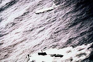 P-3C VP-23 flying over Juliett-class submarine 1982.JPEG