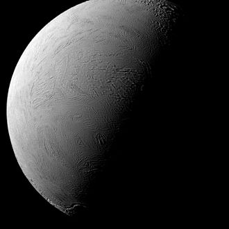 Enceladus - Enceladus – tilted terminator – north is up