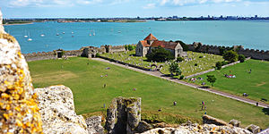 Portchester Castle - Portchester's outer bailey with the church as seen from the keep