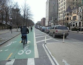 Marty Markowitz - Prospect Park West bike lane looking southwest from Carroll Street