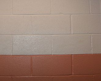Concrete masonry unit - An interior wall of painted CMUs