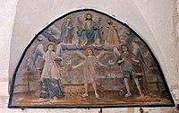 Painting on the wall Armenian Apostolic church of the Holy Archangels, Jerusalem.jpg