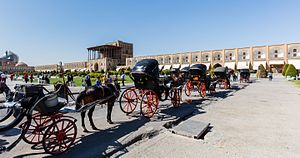 Naqsh-e Jahan Square - Horse and buggy in the square