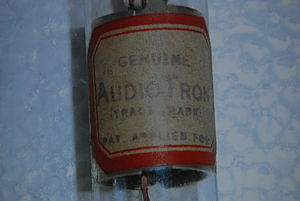 Elmer T. Cunningham - Paper identification label used on the Audio Tron vacuum tube