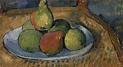 Paul Cézanne - Plate of Fruit on a Chair (Assiette de fruits sur une chaise) - BF18 - Barnes Foundation.jpg