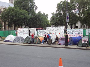 Peace camp - Parliament Square Peace Campaign opposite the British parliament, 2010
