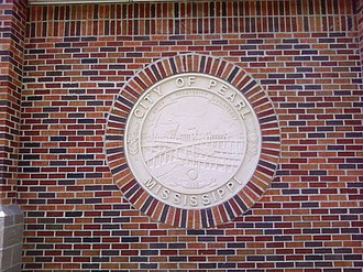 Pearl, Mississippi - Community Center wall featuring the city's seal