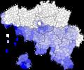 Percentage Fransen per Belgische Gemeente (2017).png