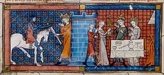 Fisher King - Perceval arrives at the Grail Castle to be greeted by the Fisher King in an illustration for a 1330 manuscript of Perceval, the Story of the Grail