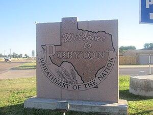 Perryton, Texas - Image: Perryton, TX, welcome sign IMG 6047