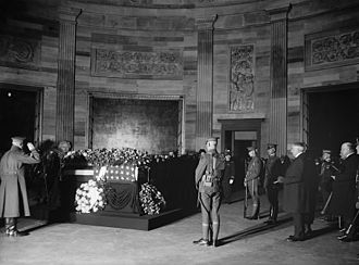 Lying in state - John J. Pershing saluting the Unknown Soldier of World War I, who lay in state in the Capitol rotunda on November 9, 1921.