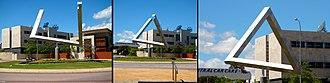 Penrose triangle - Impossible triangle sculpture as an optical illusion, East Perth, Western Australia