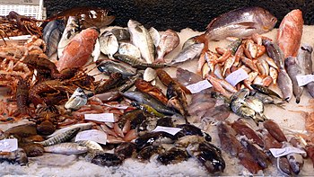 English: Seafood on the market Pescheria, Cata...