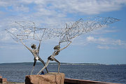 Statue of fishermen in Petrozavodsk, Russia.