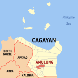 Map of Cagayan showing the location of Amulung