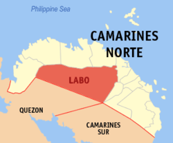 Map of Camarines Norte with Labo highlighted