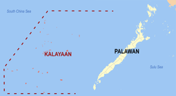 Map of Palawan showing the location of Kalayaan