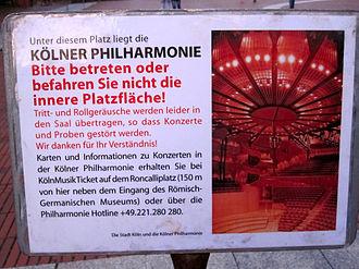 Kölner Philharmonie - Sign at the Heinrich-Böll square