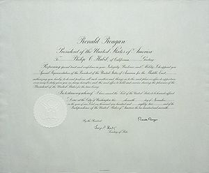 Multinational Force in Lebanon - Commission for Philip Habib for his trip as Special Representative of the President of the United States for the Middle East in 1982, signed by President Ronald Reagan and Secretary of State George P. Shultz.