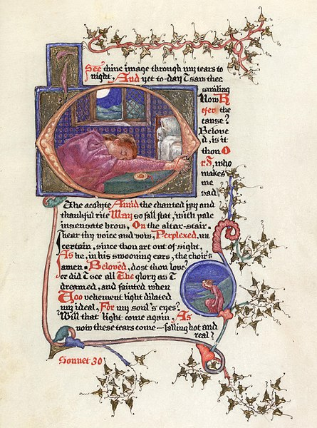 Ficheiro:Phoebe Anna Traquair's illuminated copy of Elizabeth Barrett Browning's 'Sonnets from the Portuguese' - Sonnet 30.jpg