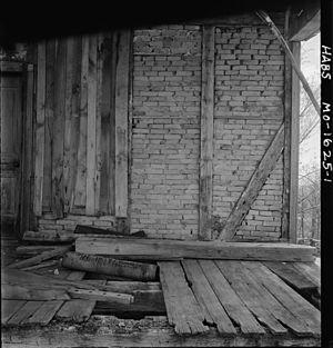 Brick nog - Typical brick nogging for walls in the United States.