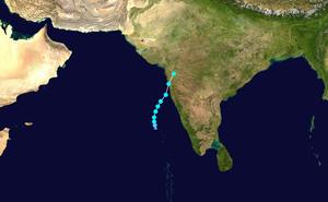 Cyclone Phyan - Image: Phyan 2009 track