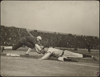 1906 World Series - Pickoff attempt during one of the games.  Frank Chance slides in safely past the tag of Jiggs Donahue.