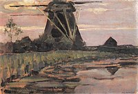 Piet Mondriaan - Oostzijdse mill viewed from downstream with streaked pinkish-blue sky - A404 - Piet Mondrian, catalogue raisonné.jpg