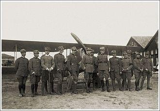 Mario de Bernardi - Then-Lieutenant Mario de Bernardi is third from right in this photograph of pilots of the Italian 91st Fighter Squadron during World War I.