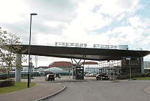 A photo of the entrance to Pinewood Studios in England