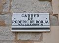 Placa del carrer de Roderic de Borja, Planes.JPG