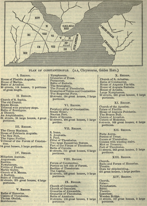 Notitia Urbis Constantinopolitanae - Map of the regions of the city according to the Notitia, including the major buildings present in each of them.
