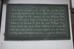 Photo of Great House of Lyme Regis, William Pitt, William Pitt, and Mary Russell Mitford black plaque