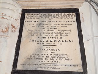 Picture of the plaque erected in St James Church Sialkot Cantonment by Sarah Pennycuick, widow of Brigadier John Pennycuick and mother of Alexender of 24th Regiment, both of whom died in Battle of Chillianwala on 13 January 1849. Plaque erected in the memory of Brigadier John Pennycuick and his son Alexender of 24th Regiment, both of whom died in Battle of Chillianwala on 18 January 1849 by Sarah Pennycuick, widow and mother of deceased.jpg