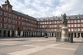 Plaza Mayor de Madrid vacía el primer día de cuarentena