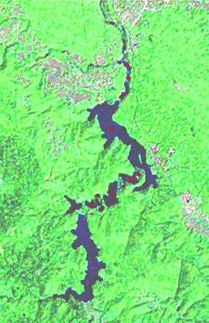 Satellite map of the Plitvice Lakes
