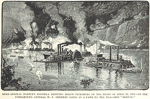 USS Benton (1861) - General William Tecumseh Sherman rows out to the Benton after it arrives below Vicksburg